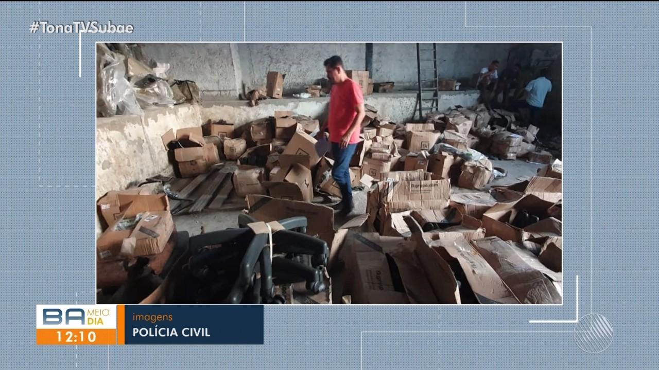 Polícia recupera mercadorias roubadas em um galpão no conjunto Feira X