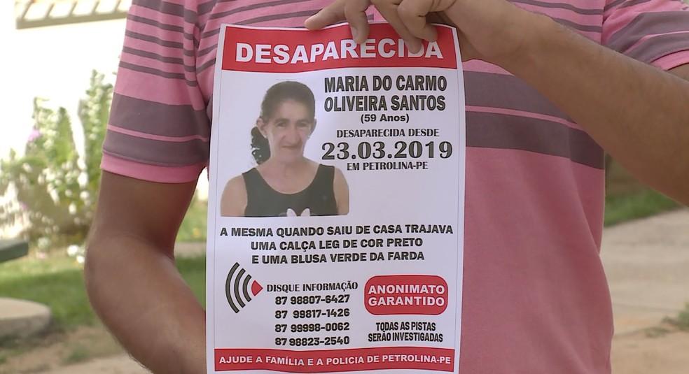Maria do Carmo Oliveira Santos sumiu no dia 23 de março  — Foto: Reprodução / TV Grande Rio