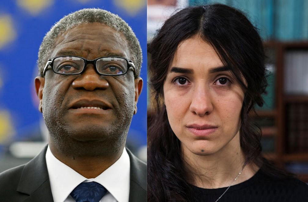 Denis Mukwege e Nadia Murad foram vencedores do Nobel 2018 â?? Foto: Vincent Kessler e Lucas Jackson/Arquivo Reuters