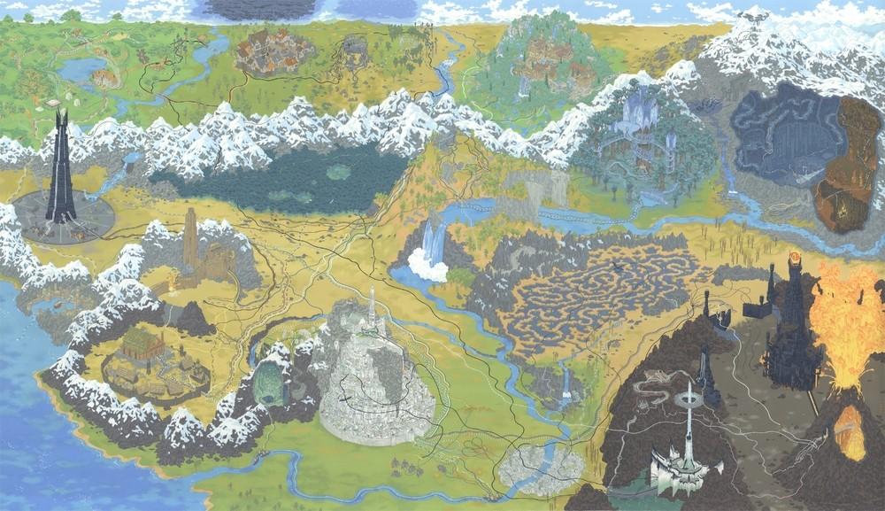 """Os caminhos do anel na trilogia """"O Senhor dos Aneis"""" (Foto: Reprodução/Andrew DeGraff)"""