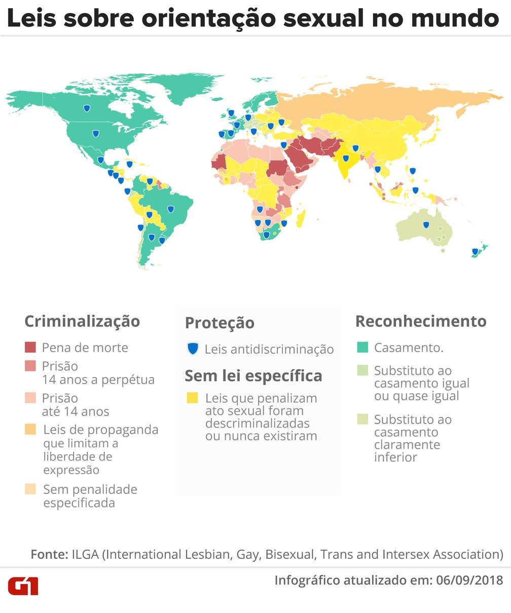 -  Mapa mostra como os países tratam legalmente a questão da homossexualidade  Foto: Infografia: Juliane Souza/G1