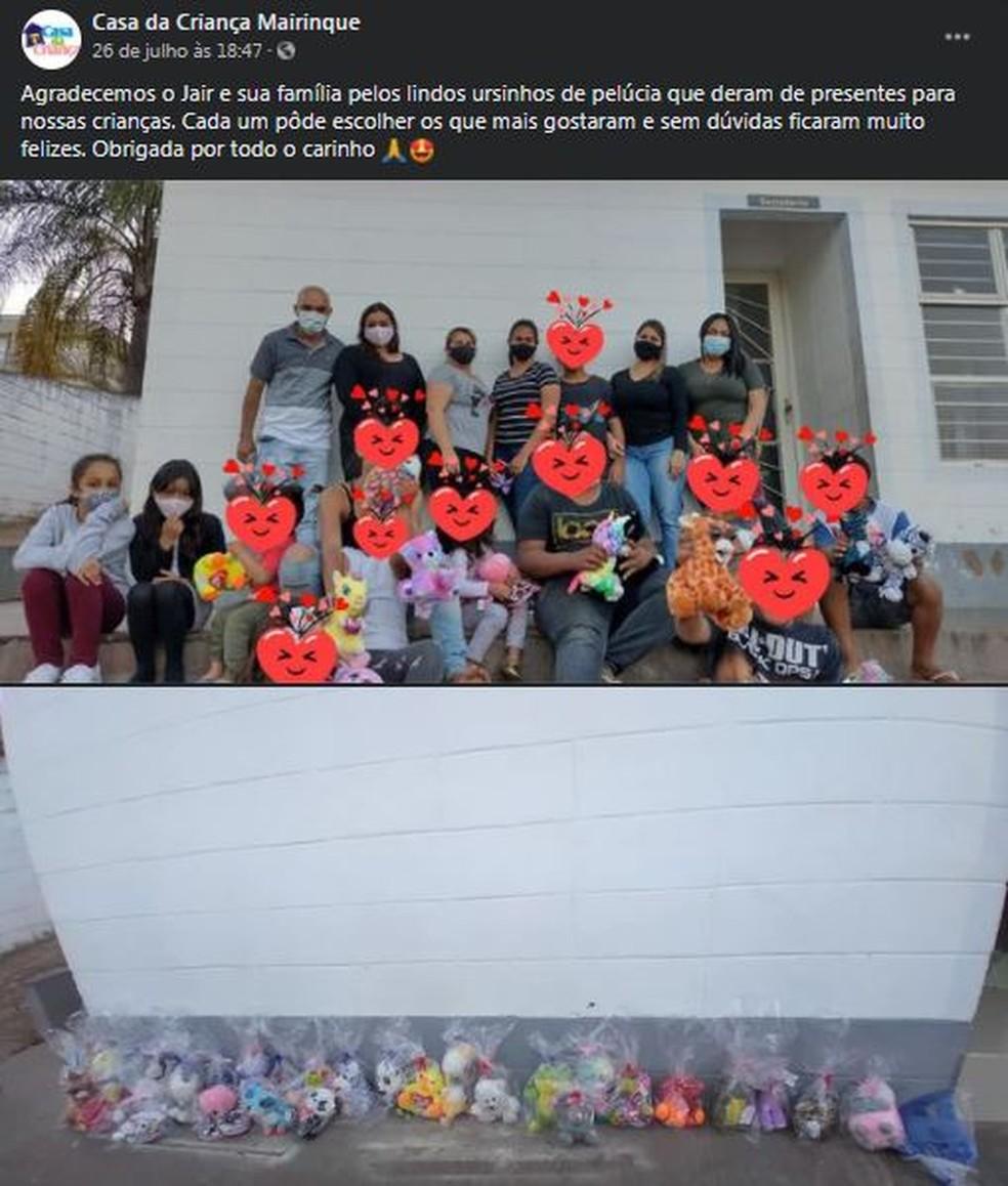 A Casa da Criança de Mairinque publicou em suas redes sociais um agradecimento à família de Maria Clara — Foto: Reprodução / Facebook