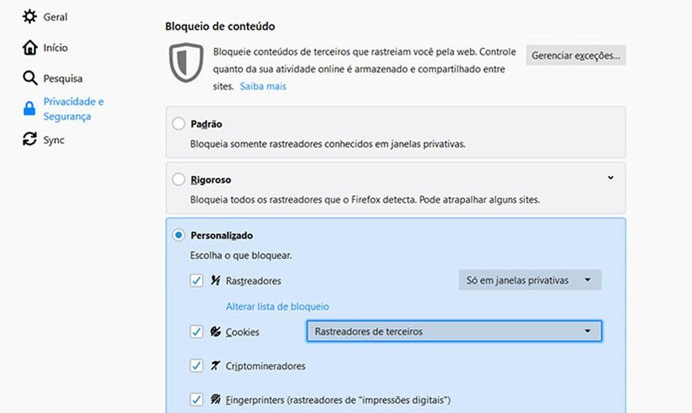 Configurando o bloqueio de rastreadores no Firefox. — Foto: Reprodução
