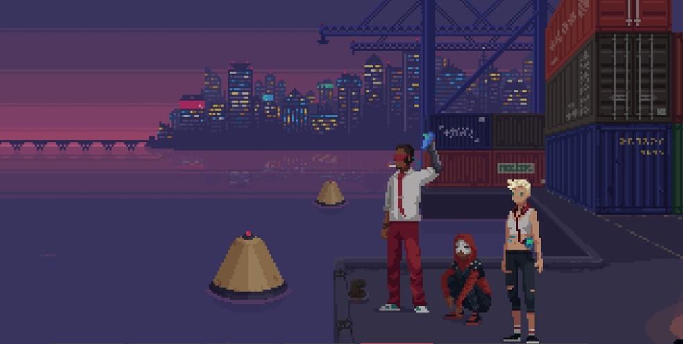 Com gráficos em estilo retrô, The Red Strings Club tem uma história profunda que aborda temas humanos — Foto: Divulgação/Devolver Digital