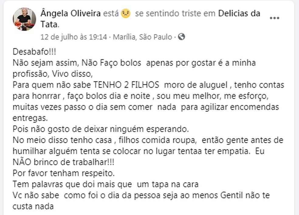 Ângela desabafou nas redes sociais depois que cliente recusou bolo de pote em Marília — Foto: Facebook/Reprodução