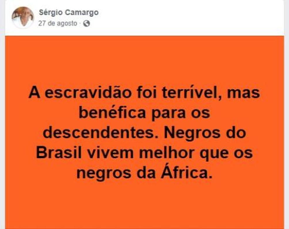 Publicação do jornalista Sérgio Nascimento de Camargo, novo presidente da Fundação Cultural Palmares, em rede social — Foto: Reprodução