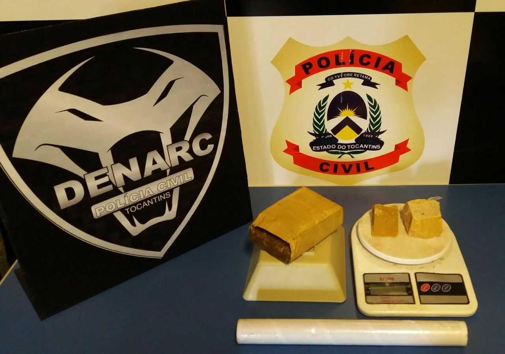 Droga foi apreendido com casal suspeito de tráfico em Palmas (Foto: Divulgação/SSP)