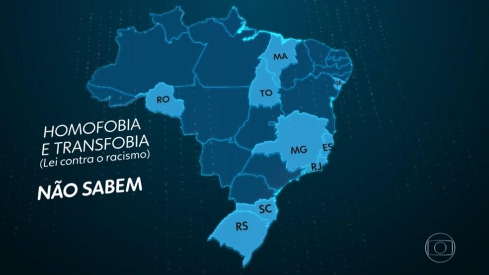 Mapa mostra estados que não sabem informar casos de homofobia e transfobia — Foto: JN/Reprodução