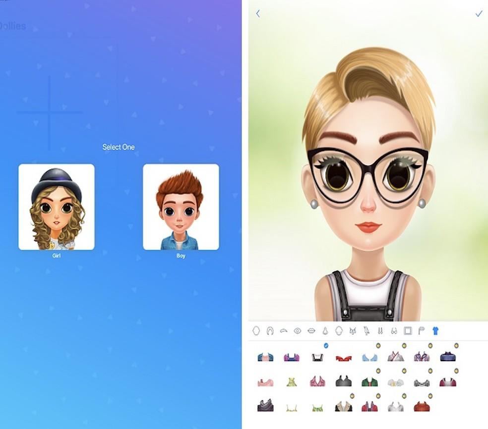 iDolly oferece um serviço de criação de avatar semelhante ao Dolify; app está disponível apenas para iOS — Foto: (Reprodução/Maria Dias)