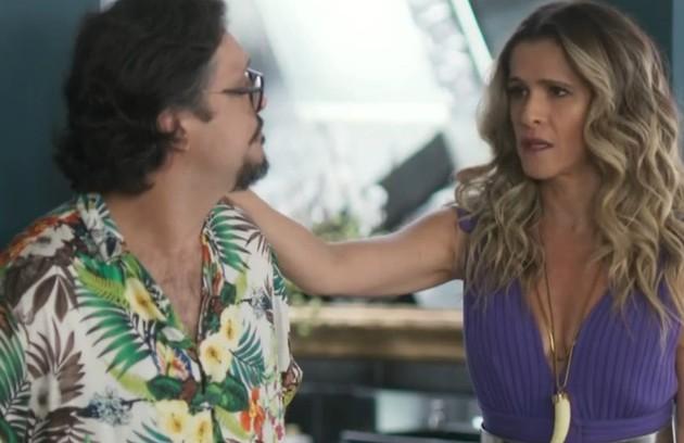 Na quinta-feira (26), Mario (Lucio Mauro Filho) descobrirá a farsa da gravidez de Silvana (Ingrid Guimarães) e terminará com ela (Foto: TV Globo)