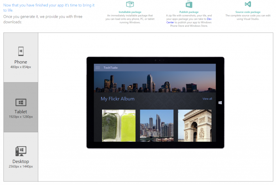 Windows App Studio | Download | TechTudo