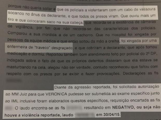 Relatório da Corregedoria da Polícia Civil informa que Verônica denunciou agressões e ofensas sofridas por ela (Foto: Reprodução / Polícia Civil)