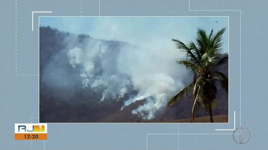 Bombeiros trabalham para combater fogo em vegetação em São Fidélis