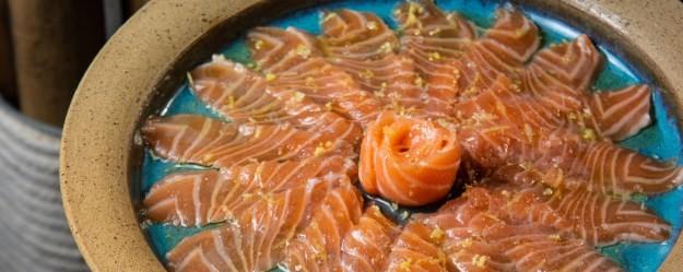 O carpaccio de salmão