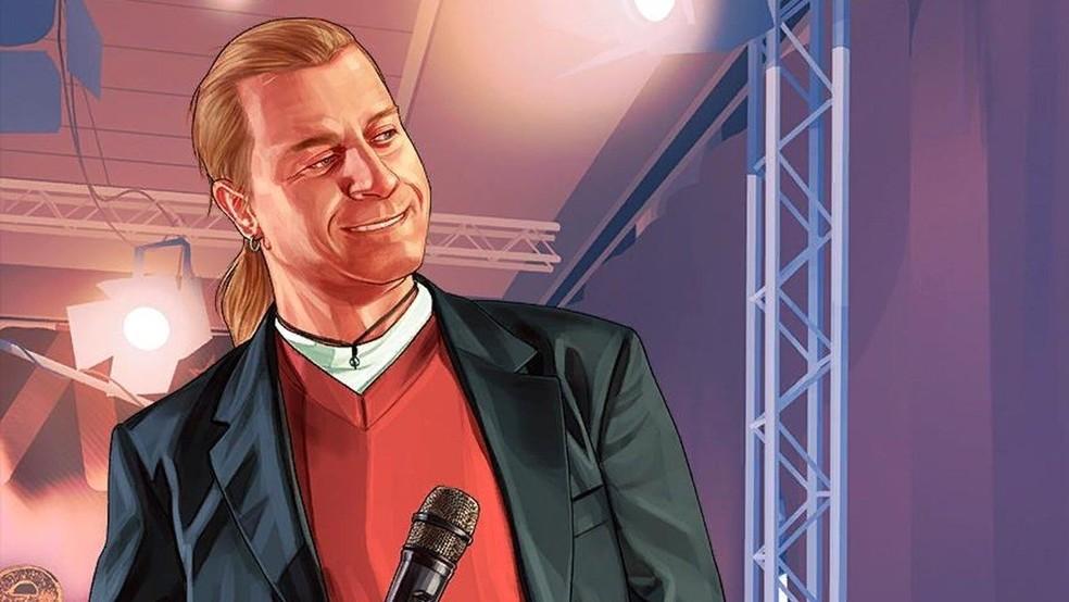 Lazlow Jones é uma celebridade questionável em GTA 5 — Foto: Divulgação/Rockstar Games