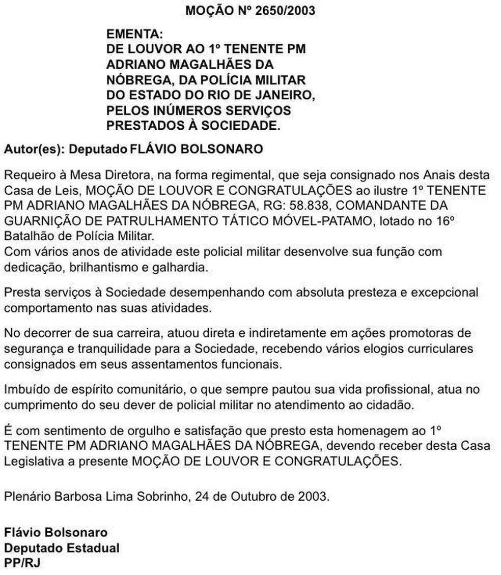 Tenente Adriano também recebeu moção de louvor proposta por Flávio Bolsonaro em 20013 — Foto: Reprodução