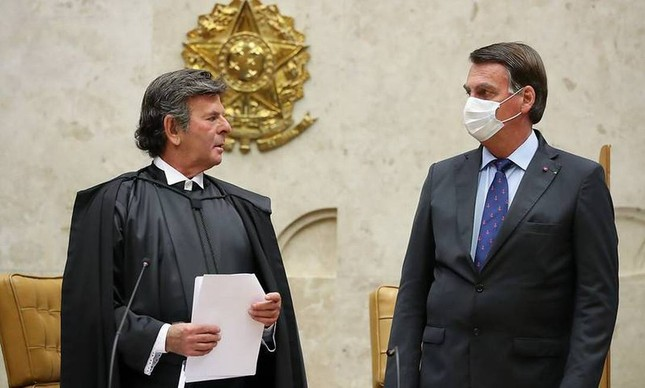 O presidente do STF, Luiz Fux, e Jair Bolsonaro