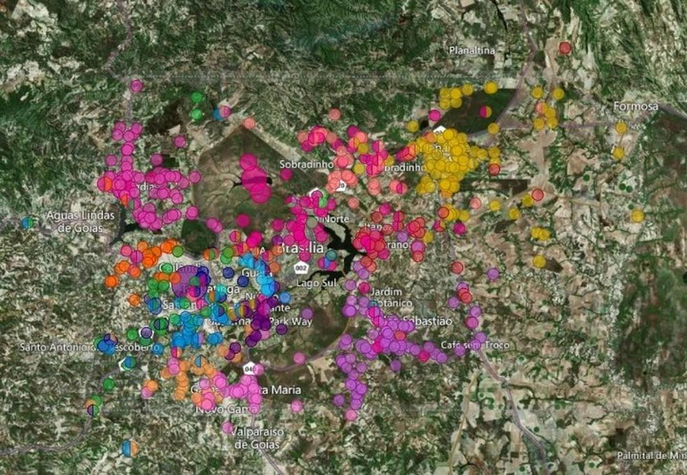 Áreas atingidas por incêndios florestais no DF em 2021 — Foto: Corpo de Bombeiros/Divulgação