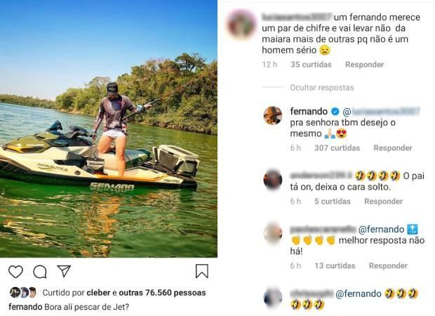 Fernando rebate comentário nada amistoso de seguidora (Foto: Reprodução/Instagram)
