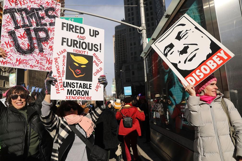 Marcha das Mulheres reúne manifestantes em Nova York (Foto: SPENCER PLATT / GETTY IMAGES NORTH AMERICA / AFP)