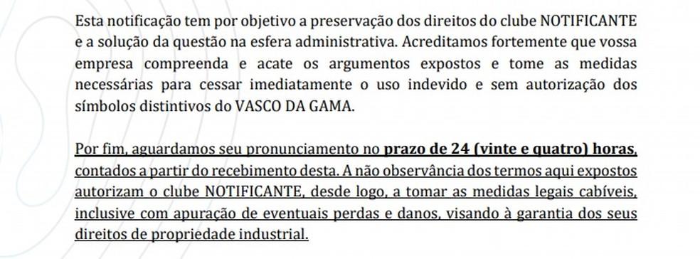 Trecho da notificação do Vasco à empresa  — Foto: Reprodução