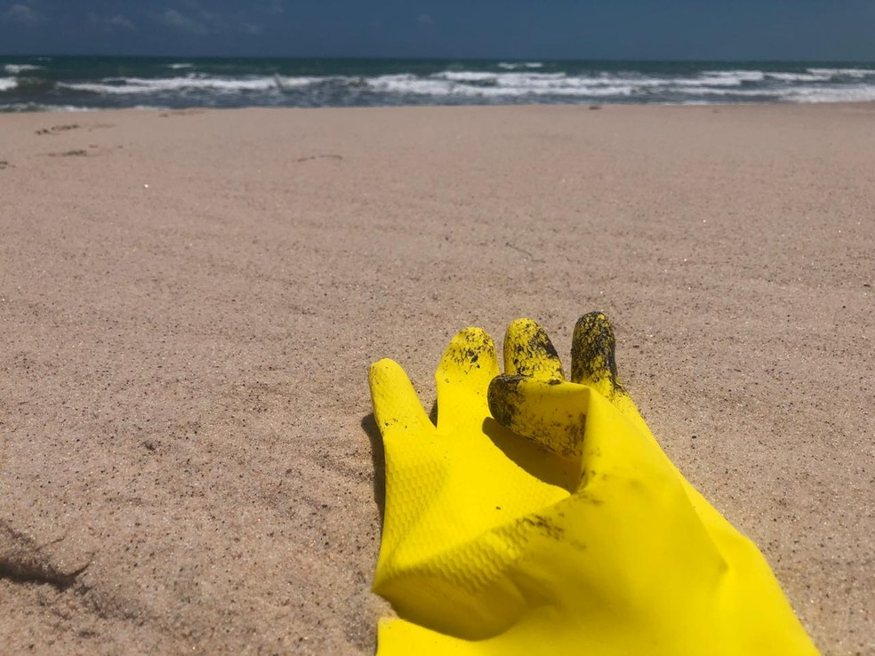 Luvas foram encontradas manchadas com óleo na praia de Canoa Quebrada — Foto: André Costa/SVM