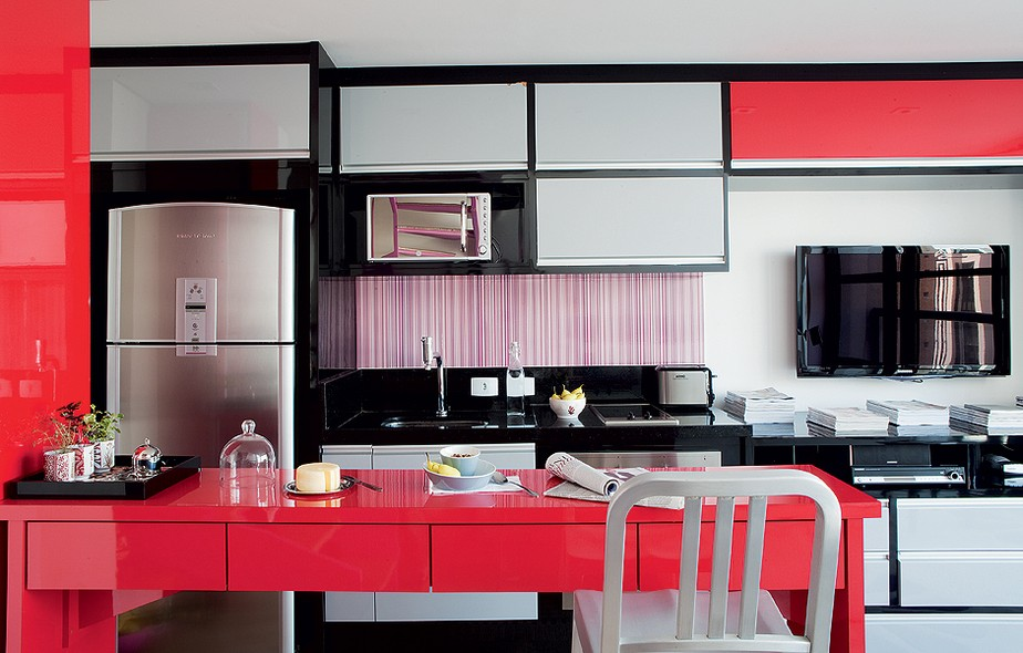 Cozinha decorada para apartamento pequeno casa e jardim - Armarios para sala de estar ...