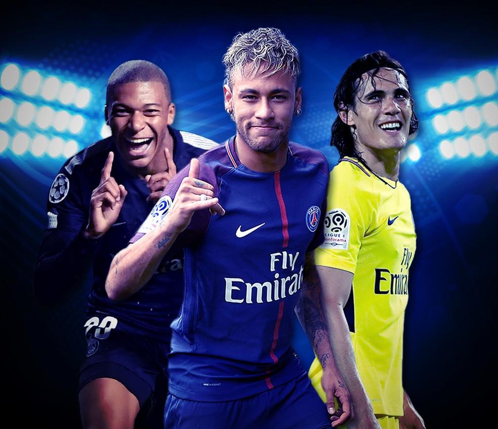 Mbappé, Neymar e Cavani formam o melhor ataque da Europa (Foto: infoesporte)