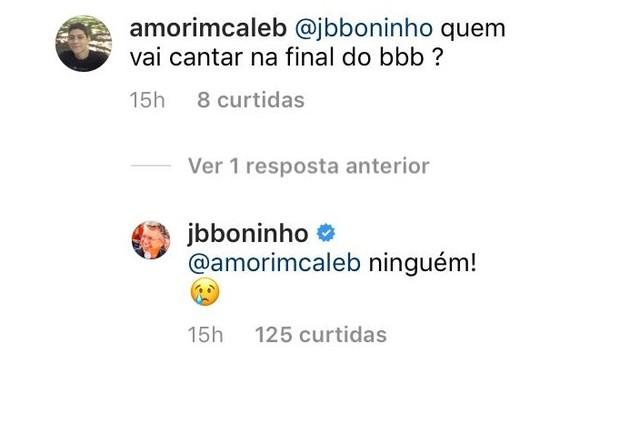 Boninho responde a seguidor (Foto: Reprodução)