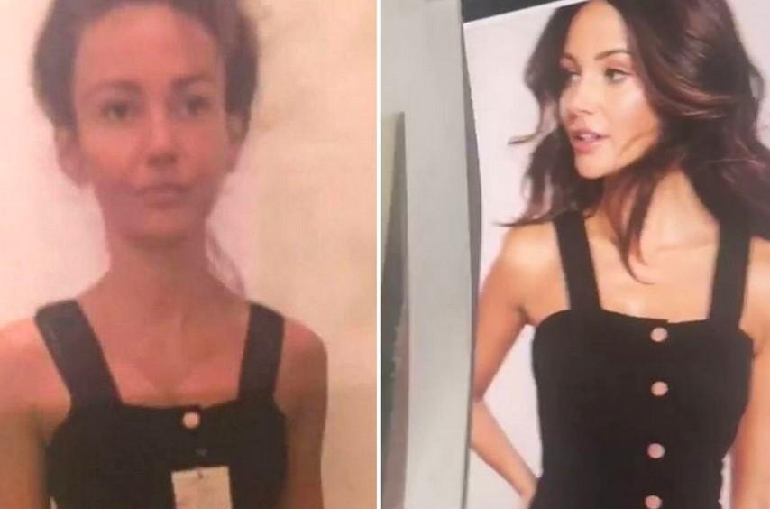 A montagem compartilhada pela atriz Michelle Keegan antes e depois do uso de sua maquiagem (Foto: Instagram)