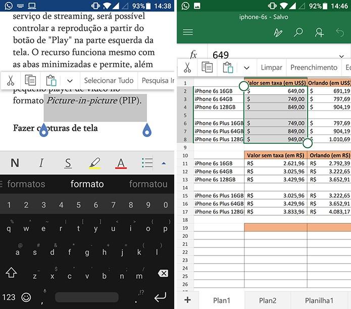 Selecione o trecho onde deseja inserir comentários no Word (à esquerda) e Excel (à direita) para Android (Foto: Reprodução/Elson de Souza)