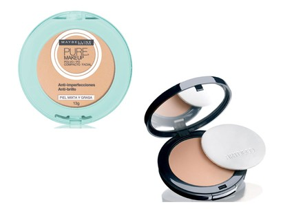 Pó compacto Pure MakeUp Maybelline, R$ 39,89 e pó compacto High Definition ARTDECO; R$ 162,90