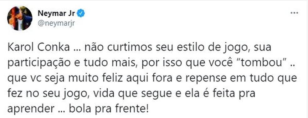Neymar — Foto: Reprodução/Twitter
