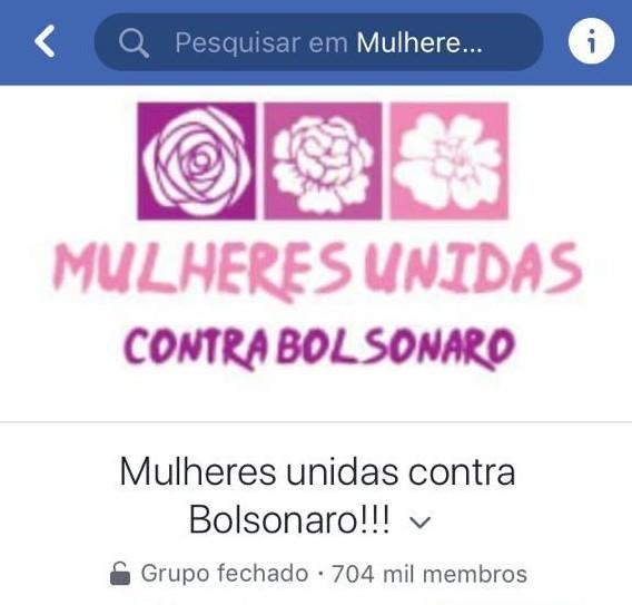 """Grupo """"Mulheres unidas contra Bolsonaro"""" reúne mais de 700 mil mulheres no Facebook"""