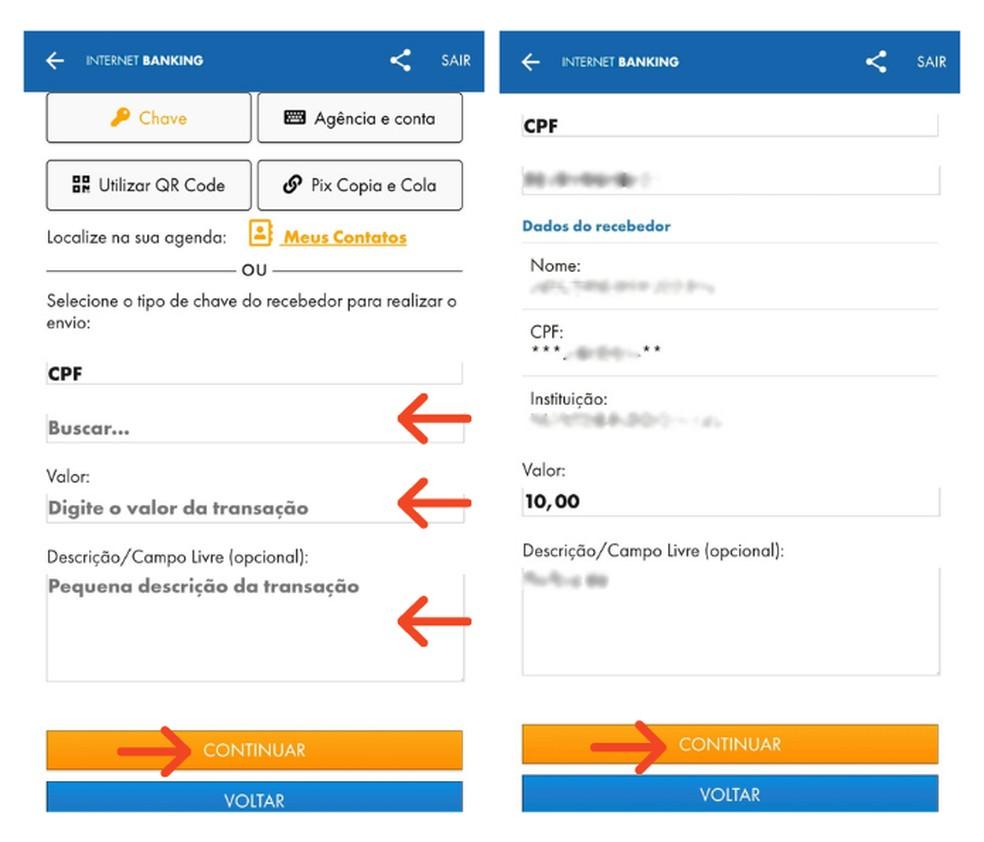 Realize pagamento com a chave Pix do favorecido no aplicativo da Caixa — Foto: Reprodução/Lívia Dâmaso