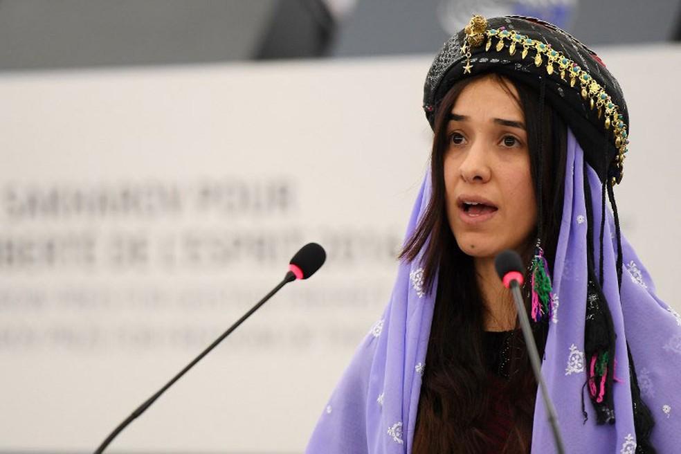 Nadia Murad, em imagem de arquivo de 13 de dezembro de 2016 — Foto: Frederick Florin / AFP