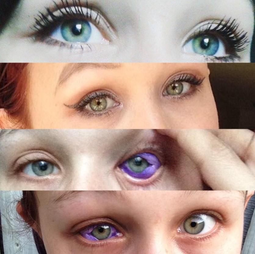 Catt Gallinger mostra o olho tatuado de roxo