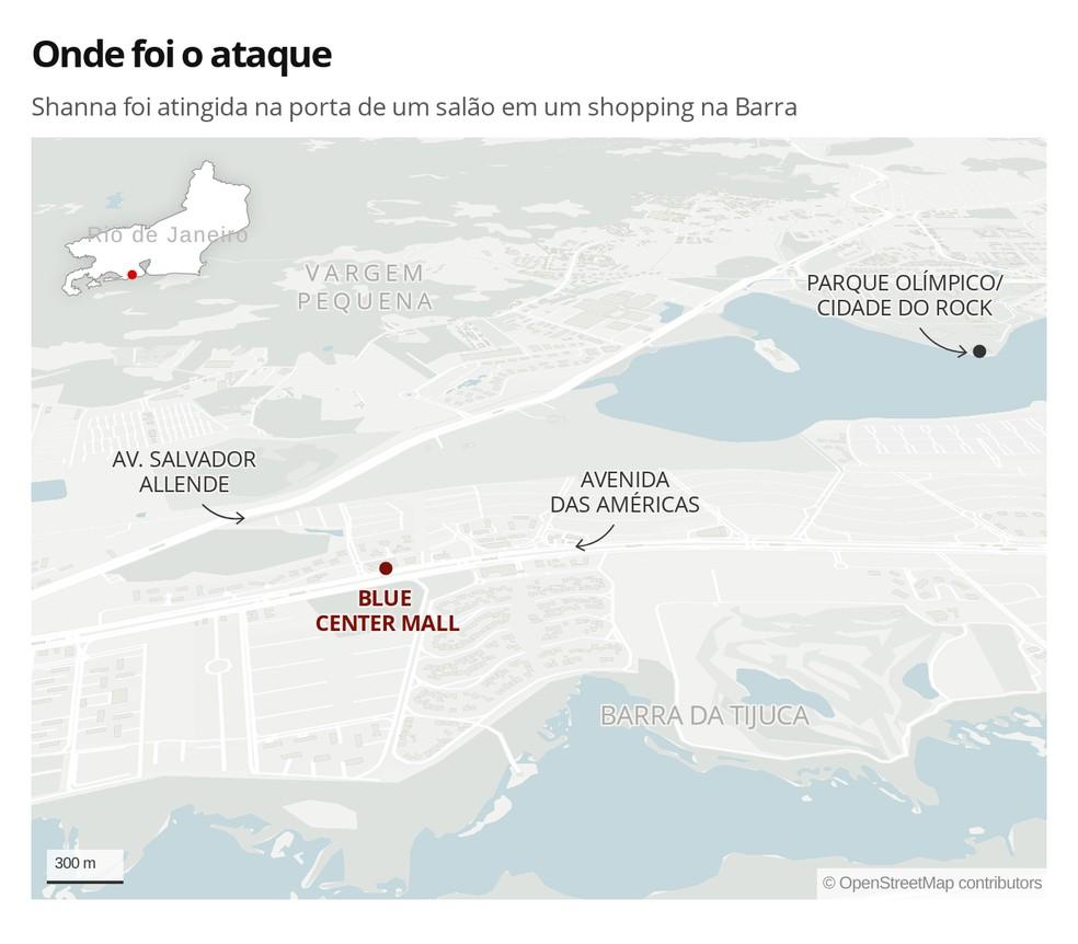 Mapa mostra onde Shanna foi atacada — Foto: Infografia: Eduardo Pierre/G1