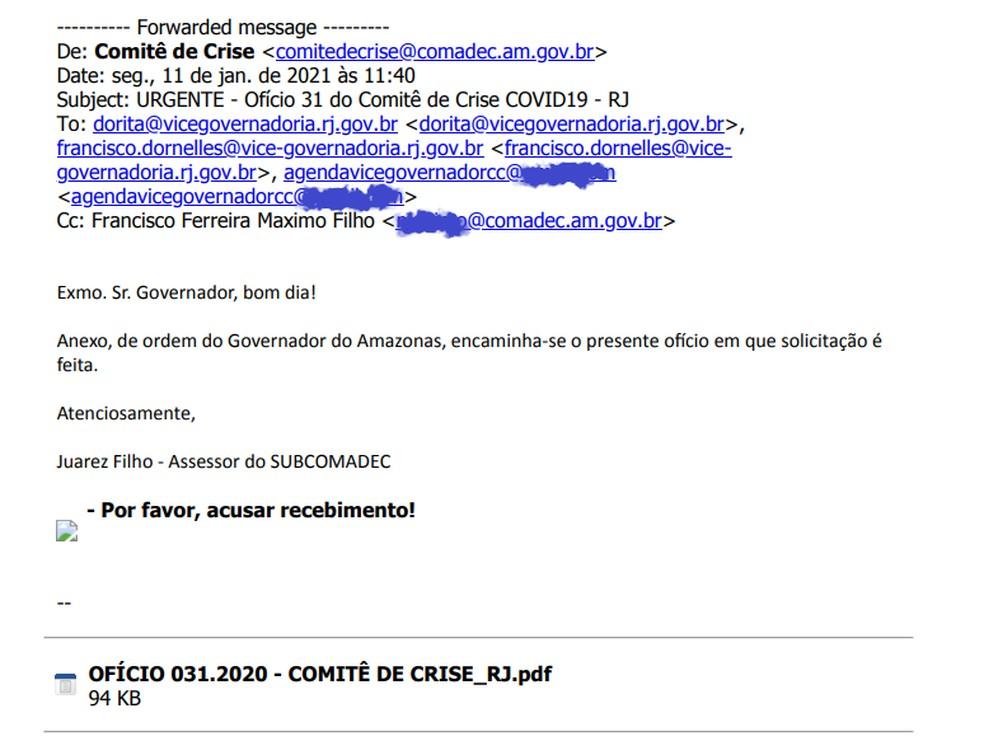 Amazonas pediu ao RJ oxigênio, mas solicitação foi enviada para e-mail errado; ex-governador Dornelles, que deixou o cargo em 2018, era um dos destinatários — Foto: Reprodução