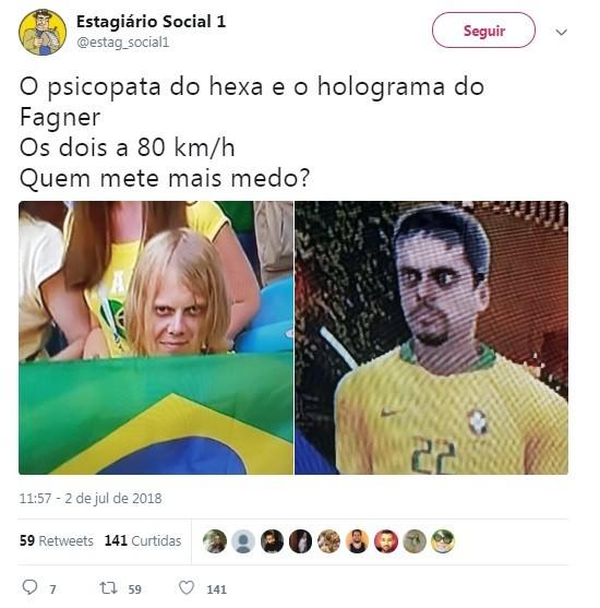 Internauta se diverte com meme do 'torcedor misterioso' (Foto: Reprodução / Twitter)