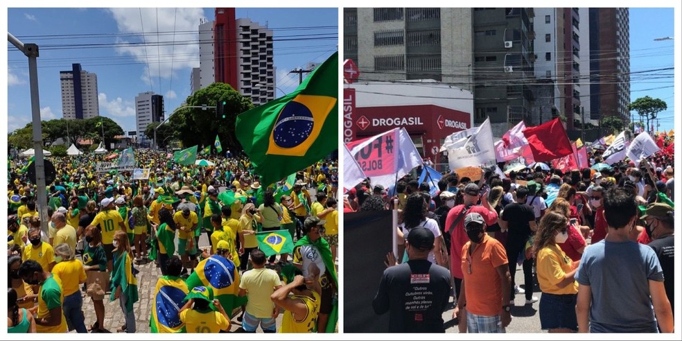 Natal, RN: Manifestações a favor e contra o presidente Bolsonaro na manhã desta terça-feira (7) — Foto: Lucas Cortez e Geraldo Jerônimo/Inter TV Cabugi