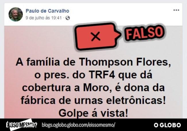Boato sobre família Thompson Flores