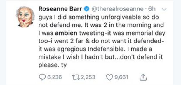 O tweet de Roseanne Barr culpando remédio para dormir por post racista (Foto: Reprodução Twitter)