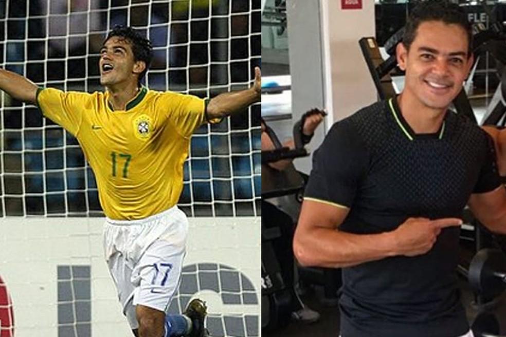 Josué comemorando gol na Copa América em 2007 e atualmente como empresário — Foto: Divulgação / Conmebol / Reprodução / Instagram