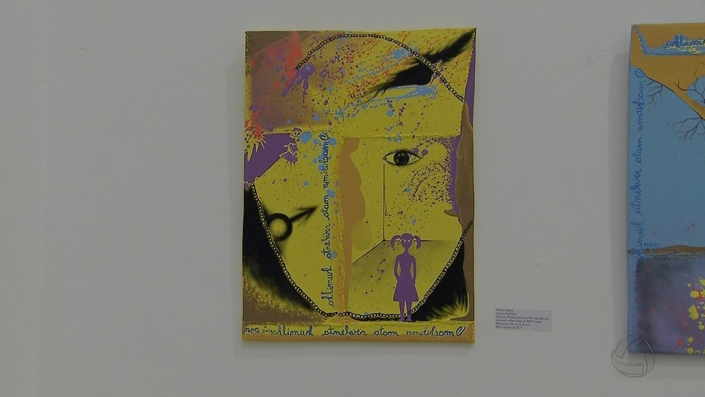-  Quadro Pedofilia, exposto em museu de Campo Grande, gerou polêmica  Foto: Reprodução/TV Morena