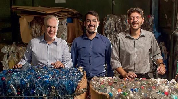Deivison Pedroza, Guilherme Guzman e Guilherme Arruda, da VG Resíduos: tecnologia para a gestão de material de descarte (Foto: Caio Palazzo)