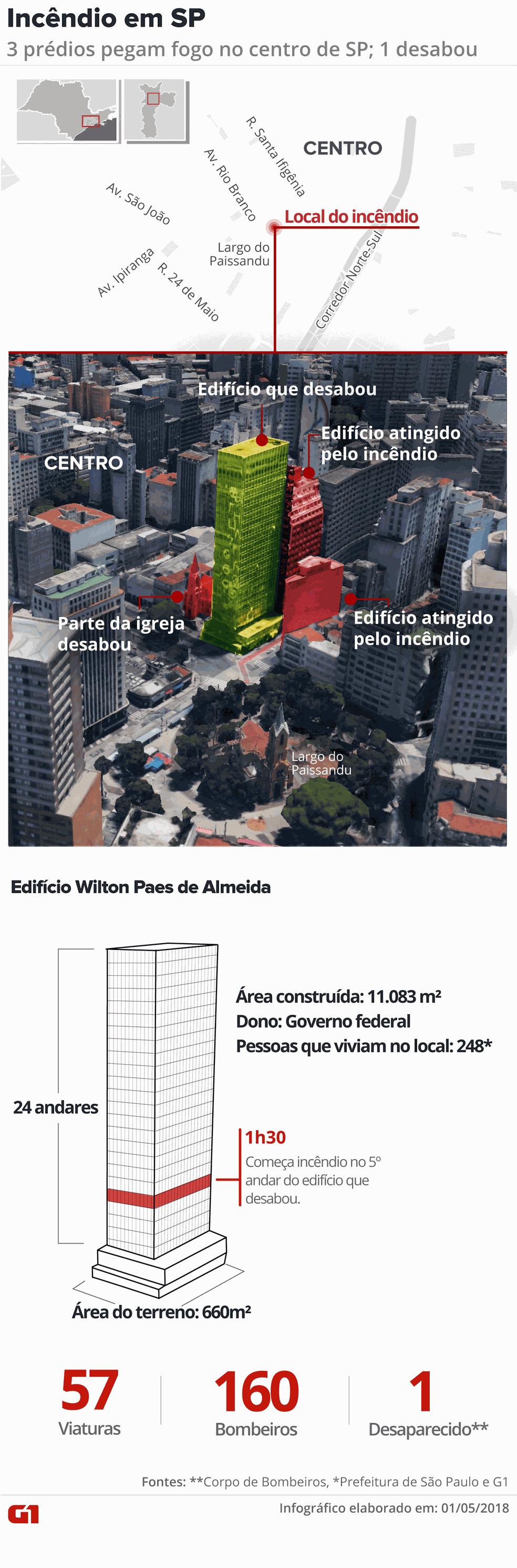 Detalhes do prédio que desabou após pegar fogo no centro de SP (Foto: Juliane Monteiro/G1)