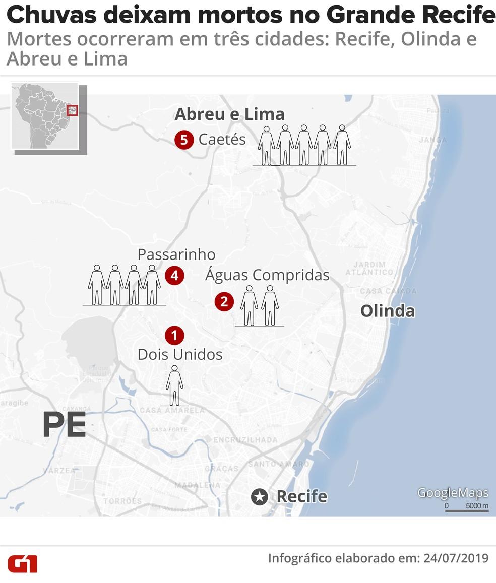 Veja as cidades onde ocorreram as 12 mortes causadas pelas chuvas no Grande Recife — Foto: Arte/G1