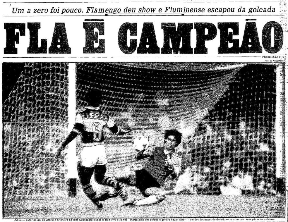 """A Taça Guanabara rubro-negra na manchete do jornal """"O Globo"""" em 24/09/1984 — Foto: Reprodução / O Globo"""