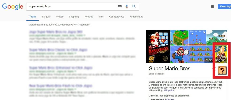Caixinha de moedas animada do Super Mario Bros aparece discreta em detalhe no Google (Foto: Reprodução/Rodrigo Fernandes)
